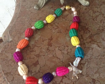 Handmade multicoloured exotic freshwater pearls and cane beaded necklace with magnetclasp.