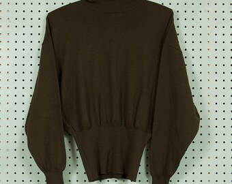 Womens Vintage 80s/90s Escada 100% Wool Turtleneck Sweater Size 34 M/L Made in West Germany Dark Green Fashion