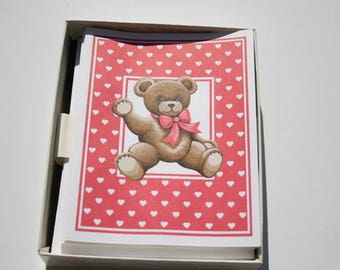 Vintage Cute Bear Blank Note Cards in Box, White Hearts on Red, Valentine's Day Love Letter Penpal