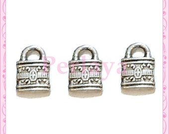 Set of 15 REF697X3 silver padlock charms