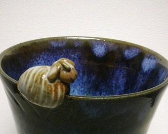 Mug, Cup, glass, pencil holder in blue and Brown stoneware with little mouse