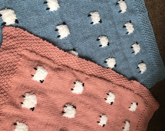 Beautiful hand knit baby sheep blanket