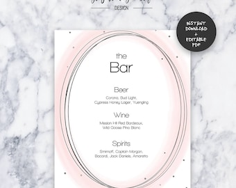 Do it yourself menu etsy blush wedding bar menu instant download editable pdf do it yourself printable solutioingenieria Image collections