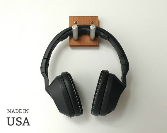 Headphone Wall Hook in Wood and Metal Headset Earphones Hook