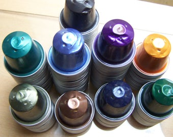 set of 10 coffee capsules NESPRESSO, aluminum, color