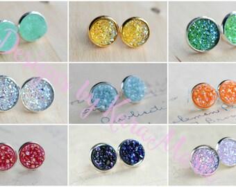 Druzy Earrings! 9 Colors - Handmade Druzy Earrings - Stud Earrings - Druzy Stud - Bridesmaid Jewelry - Bridesmaid Gifts