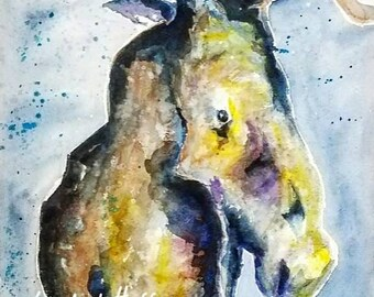 Watercolor Moose archival quality 8x10 print
