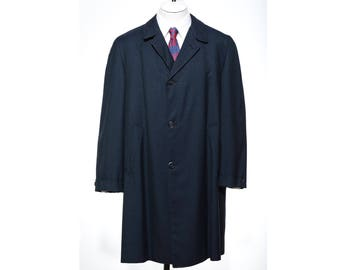 43R Vintage 60s Classic Mens Blue Tiny Check Pattern OVERCOAT Rain Trench Coat Size L/XL