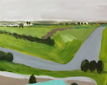 ORIGINAL Landschaftsmalerei 12 x 12 auf Holzplatte grüne Landschaft Türkis Grün Pamela munger