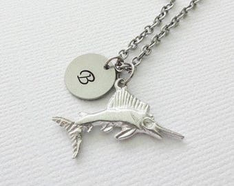 Fish Pewter Necklace Marlin Sailfish Swordfish Ocean Nautical Beach Summer Animal Jewelry Silver Initial Personalized Monogram Hand Stamped