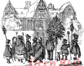 Deep Red Rubber Stamp Christmas Carolers in the Village Singing People