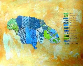 "Jamaica Collage Map Mixed Media Geometric Art  9"" x12"" Watercolor Paper Original World Peace Quote Prayer"