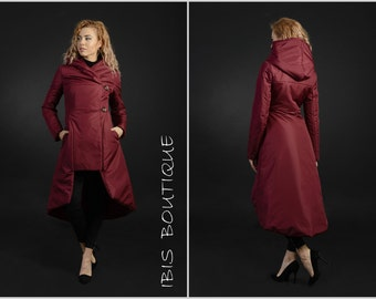 Extravagant red maxi winter woman jacket, plus / large sizes, long warm water resistant coat, large hood lined overcoat, extravagant style