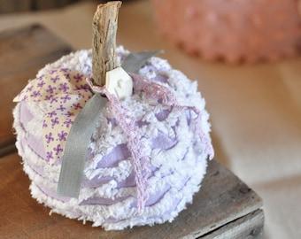 Fabric Pumpkin - Chenille Pumpkin - Purple Chenille Bedspread Recycled - Fall Decor - Vintage Pumpkins- KState Pumpkins Farmhouse decor