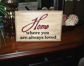 Home Is Where You Are Always Loved Hand Painted Wall Plaque