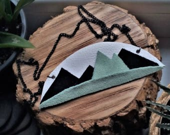 Leather mountains necklace,handmade,one of a kind,pastel colors