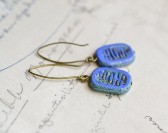 Cornflower Blue Antique Earrings / Czech Glass Beads / Brass / Neo Vintage Jewelry