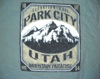Recyclerog, Vintage Park City Utah Recycled Cotton Tshirt Large