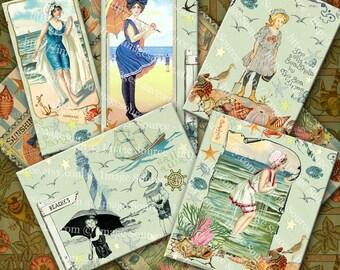 Seashore Digital Scrapbooking Paper, Vintage Beach Illustrations, Color Images Instant Printable Download
