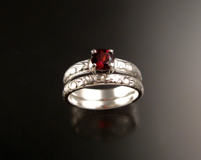 Garnet Victorian Wedding set 14k White Gold Ruby substitute two ring set made to order in your size