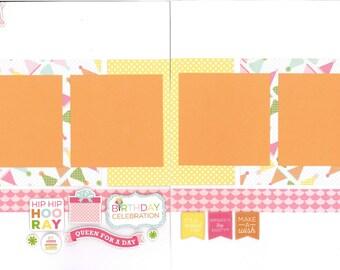 12x12 HAPPY BIRTHDAY GIRL scrapbook page kit, premade scrapbook, 12x12 premade scrapbook, premade scrapbook page, 12x12 scrapbook layout