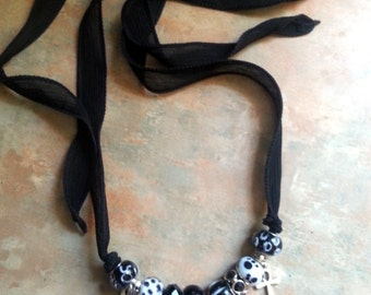 Gorgeous Black Silk Wrap Bracelet/Neclace With Egyptian Charms