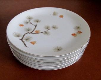 Six Salad Luncheon Plates Nikko Fine China Seyei Japan Woodland 1569 & Nikko china | Etsy
