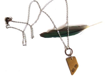 Tribal Stamped Brass and Silver Geometric Necklace