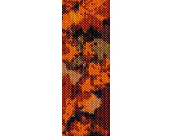 Abstract Autumn Peyote Bead Pattern, Bracelet Cuff, Bookmark, Seed Beading Pattern Miyuki Delica Size 11 Beads - PDF Instant Download