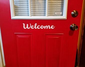 Front Door Welcome Vinyl Decal - Front Door Welcome Sticker - 4 x 13 inches - Welcome Sign - Front Door Decal - Welcome Sticker