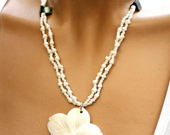White seed beads and mother of Pearl Flower necklace with hibiscus