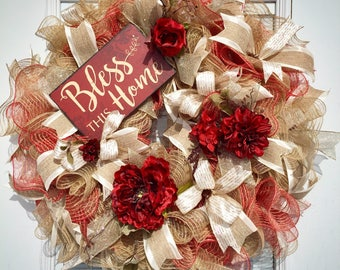Burlap Deco Mesh Wreath for your front door, Burlap Wreath, Rustic Wreath, Spring Wreath, Summer Wreath, Fall Wreath, Floral Wreath
