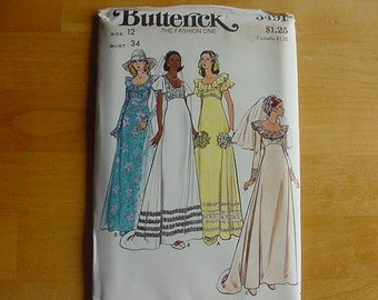 Vintage 1970s Butterick Pattern 3491, Misses Bridal Gowns, Wedding Dress, Evening Gown, Bridesmaid Dress, Size 10, Bust 32 1/2, UNCUT