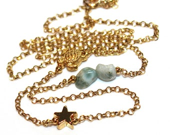 Asymmetrical Charm Necklace Star Necklace Turtle Necklace Larimar Necklace Stacking Necklace Charm Jewelry Beach Necklace Fun Trendy