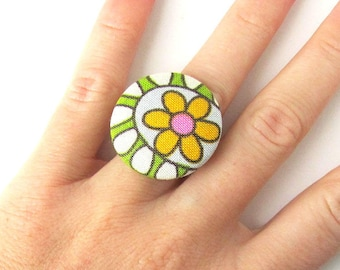Gift for her - Flower ring - statement jewelry - large fabric ring - big button ring - white green yellow flower bright cute