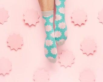 Runda Socks with Mint Scallop Flower for Women