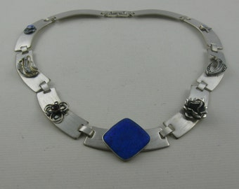 REANIMATED JEWELRY (upcycling of old jewelery): Collier (I) made of sterling silver (Ag 925) with lasered elements old jewelry. Vintage
