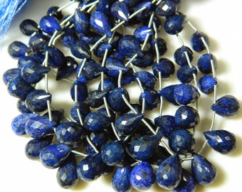 Blue Corundum Briolettes, Sapphire Beads, Faceted Tear Drop Beads, 18 Pieces, 6x8mm To 10x14mm Each