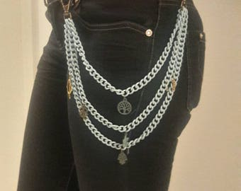 Boho chunky  - trousers chains light blue chains with copper charms - gift for her - Trendy fashion accessories