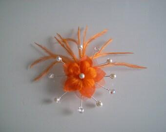 Hair clip hair accessory girl women original Crystal/Orange/ivory flower feather bridal/wedding/party/ceremony cheap p