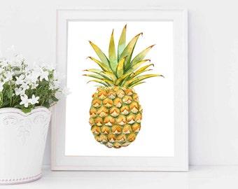 Pineapple Print,Tropical Wall Decor,Pineapple Print Poster,Pineapple Printable,Tropical Prints,Pineapple Watercolor,Botanical Decor,Ananas