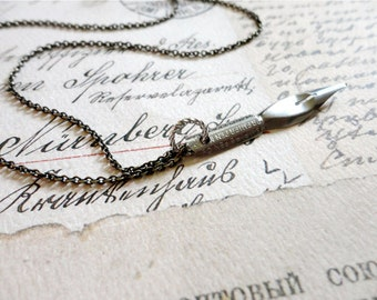 Vintage empire pen company calligraphy pen necklace, stainless steel, no. 23, Sincerely Yours