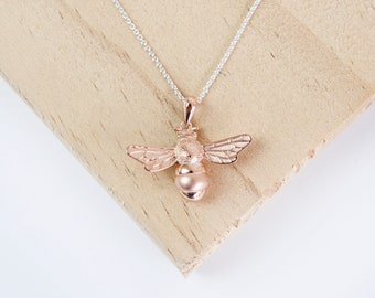 Ebba * Bee Necklace * Sterling Silver * Rose Gold * Bumble Bee * Honey Bee * Queen Bee * Bee Jewelry * Manchester Bee * Gold Bee *