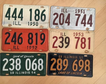 Complete decade set of 1950s Illinois plate  License Plate