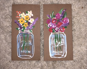 Flowers in Mason jars or flower bouquets
