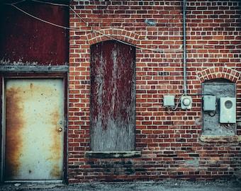 "Photograph Door Industrial Wall Fine Art Photo Factory Graffiti Rust Brick Steel Decor  // ""Sparky"" // 8x10 11x14 16x20 24x30"