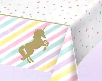 UNICORN Table Cover | Pastel Rainbow Table Cover | Unicorn Party Decor | Unicorn Party Theme | Size: 8.5 x 4.5 feet