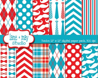digital papers - red and blue little man / mustache themed patterns - INSTANT DOWNLOAD