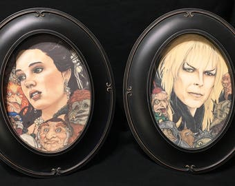 Labyrinth The Goblin King Jareth and Sarah David Bowie Framed Print Set of Two Chris Oz Fulton