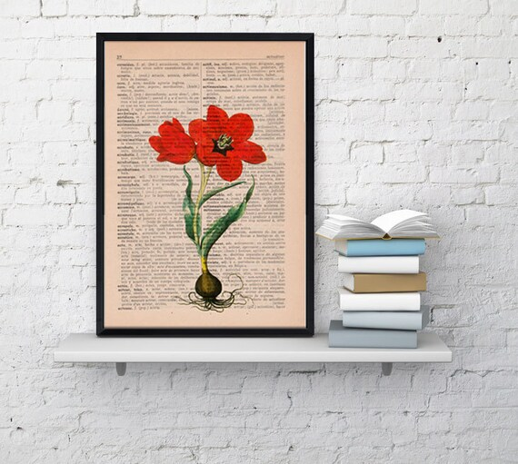 Wall art Vintage Book Print Illustration Tulip botanical studio print on Vintage Dictionary Book art BFL059